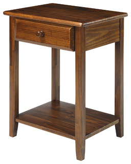 Night Owl Nightstand With 4 USB Ports, Warm Brown