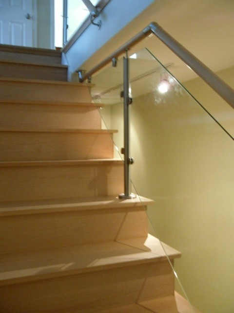 Wood Stairs And Stainless Steel Glass Railings | Steel Railing With Glass For Stairs