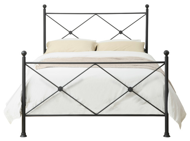 king metal poster bed with x accents iron black