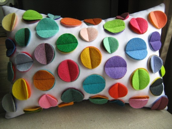 Multicolor Rainbow Felt Disc Pillow by DeDe eclectic-kids-bedding