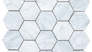 "Carrara Marble Hexagon Mosaic Tile, 12""x12"" Traditional"