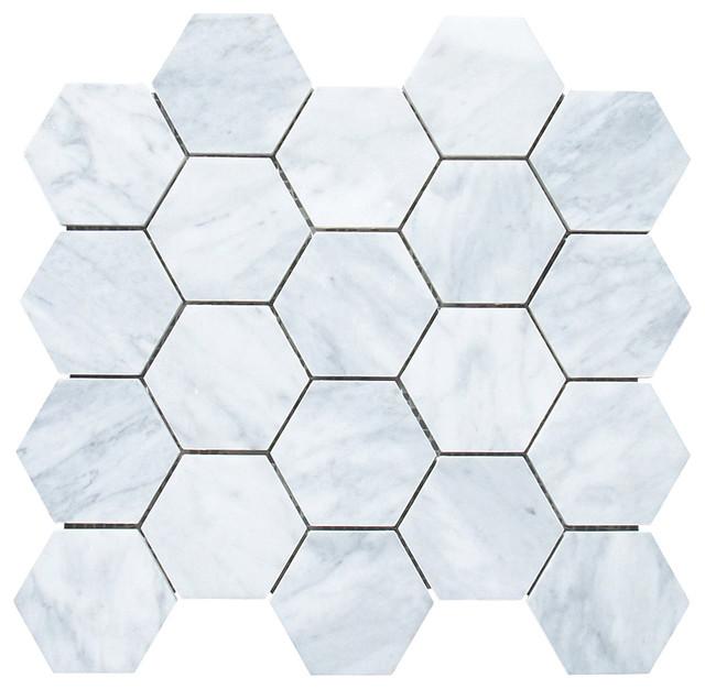 12 25 x10 75 carrara white hexagon mosaic tile honed chip size 3