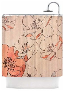 """KESS InHouse Alison Coxon """"Painted Wild Roses"""" Coral Floral Shower Curtain"""