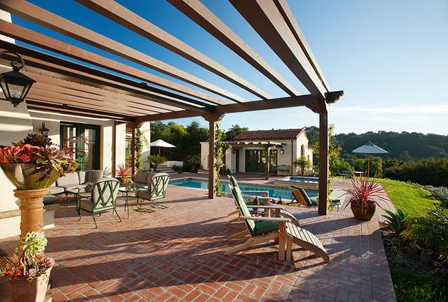 Hope Ranch Spanish Style Custom Home Outdoor Living Space Mediterranean Patio Santa