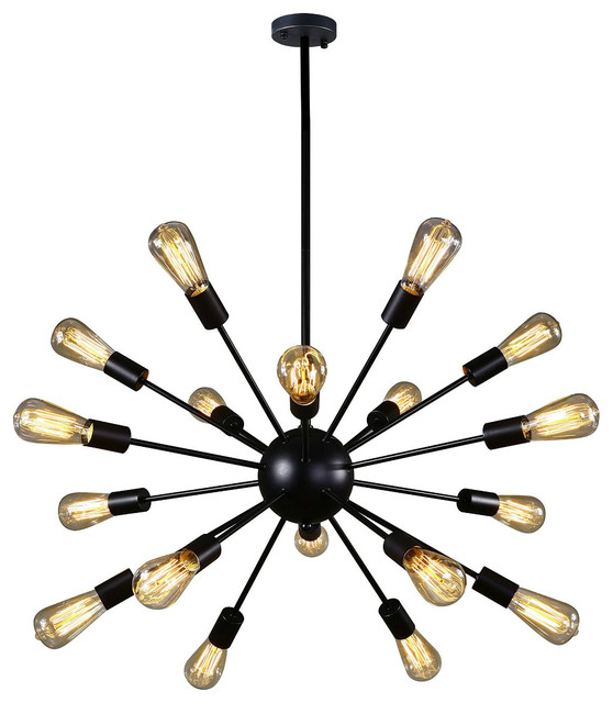 Vintage Style Metal Sputnik 18 Light Chandelier With Painted Finish Midcentury Chandeliers