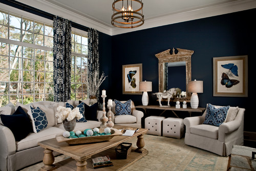 Dark navy blue living room, looks so classic!