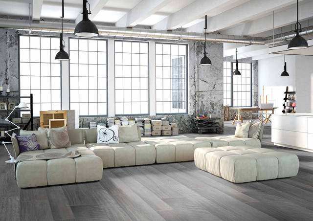 Modern Grey Loft Style Living Room With Porcelain Wood