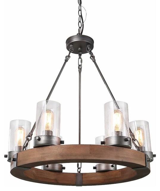 laluz 6 light wood chandeliers rustic pendant lighting circular ceiling lights