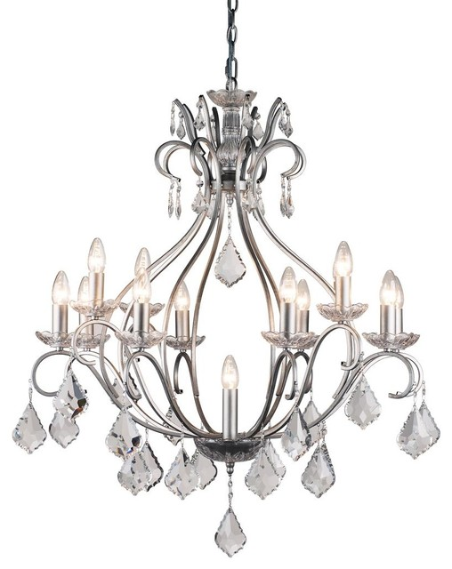 Pazzi 13 Light Brushed Silver Chandelier Traditional Chandeliers