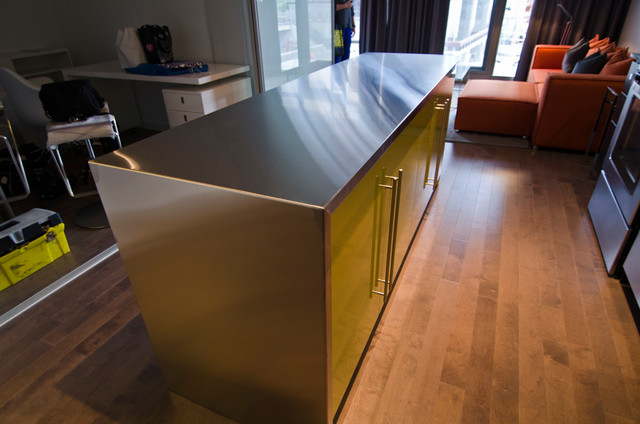 Ikea Island With Custom Theril Doors And Stainless Steel
