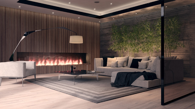 Mid Sized Minimalist Open Concept Light Wood Floor Living Room Photo In Other With Gray
