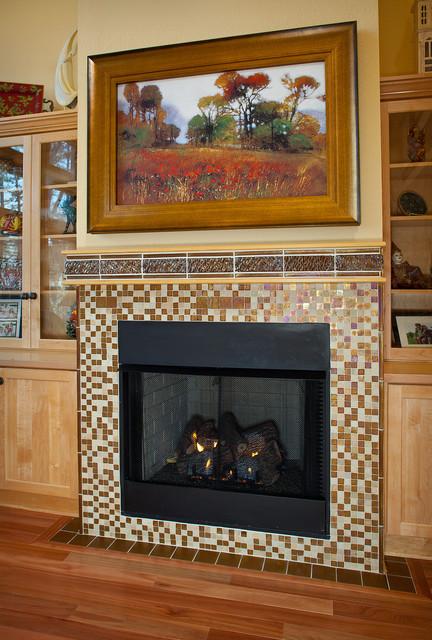 Custom Fireplace Surround And Hidden TV Contemporary