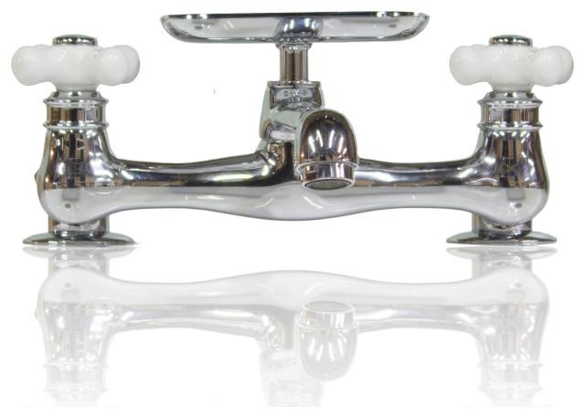 chrome deck mount short swivel spout utility bridge faucet w conversion kit