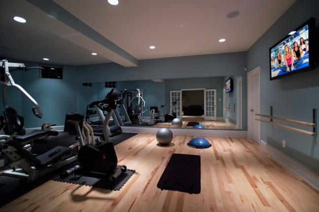12 Colors to Pump Up Your Home Gym Modern Home Gym by Rule4 Building Group