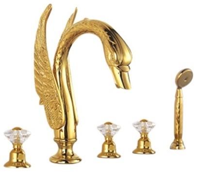 bathselect pisa gold 5 piece deck mount widespread handles swan bathtub faucet