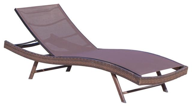 gdf studio burnham outdoor brown mesh chaise lounge chair single