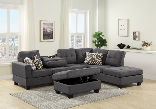 kourtney dark gray reversible sectional sofa with cup holder table usb port