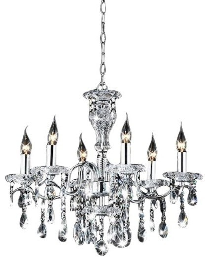 Indoor 6 Light Chrome Crystal Candle Chandelier Traditional Chandeliers