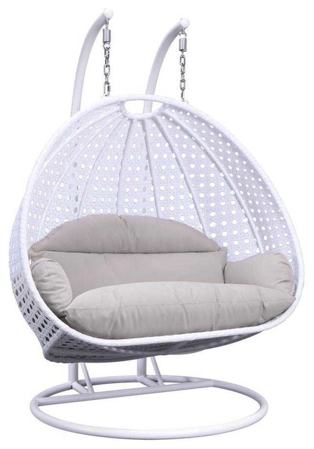 Leisuremod Modern 2 Person Wicker Double Hanging Egg Swing Chair Midcentury Hammocks And Swing Chairs By Leisuremod