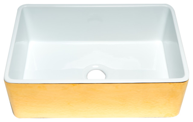 hammered gold fluted 30 inch reversible single fireclay farmhouse kitchen sink