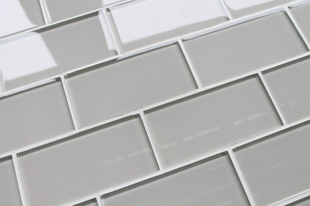 country cottage light taupe 3x6 glass subway tile sample