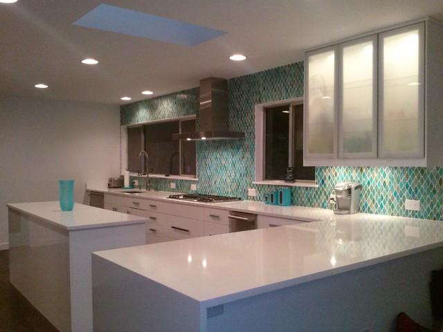 Superior Compac Absolut Blanc Quartz Countertops Midcentury Kitchen