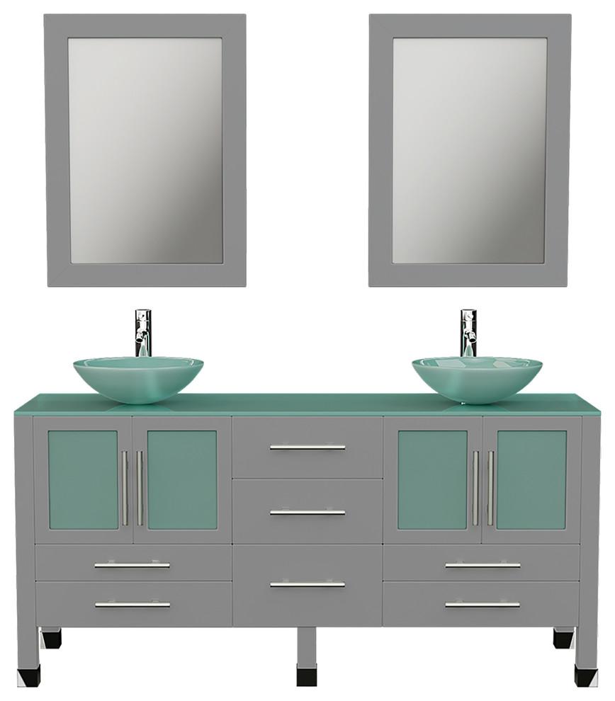 63 gray double vessel sink bathroom vanity tempered glass top