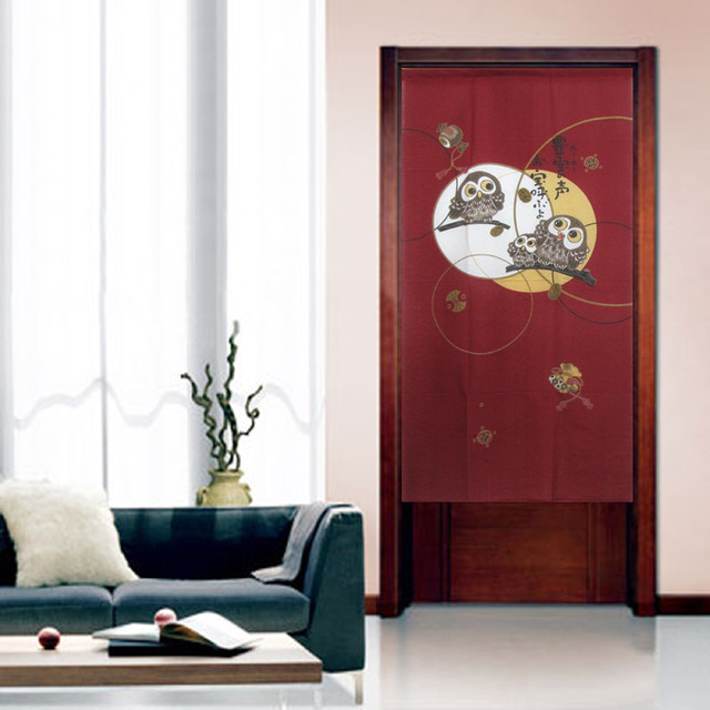 A Happy Owls Family Japanese Door Curtain Noren Traditional Family Room By Sinofaucet
