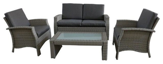 4 piece gray resin wicker outdoor patio furniture set gray cushions