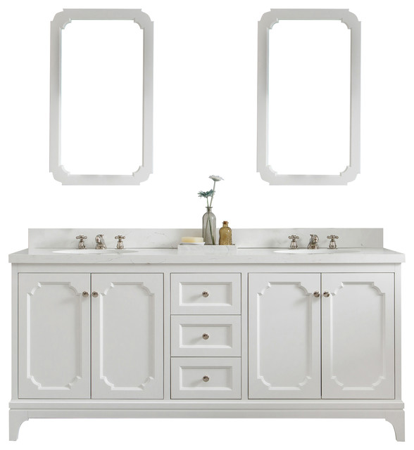 72 wide pure white double sink quartz carrara bathroom vanity