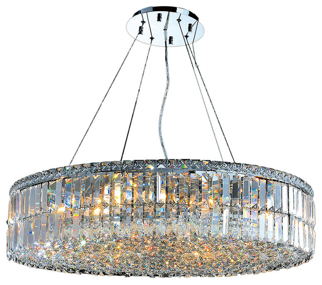 Cascade 18 Light Clear Crystal Round Chandelier Chrome 32 Chandeliers
