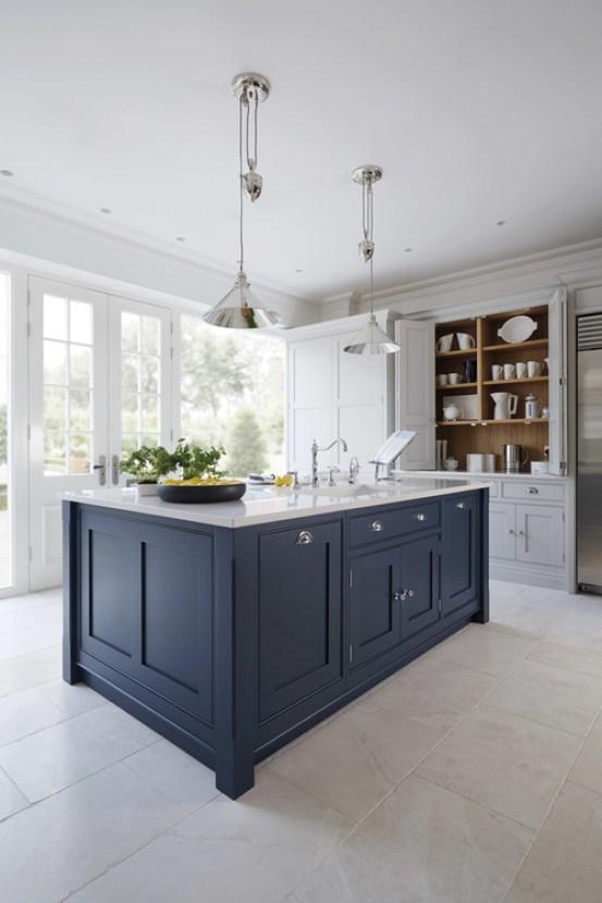 coastal cottage kitchen + navy and white