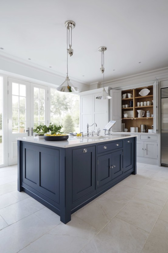 coastal cottage kitchen + navy and white