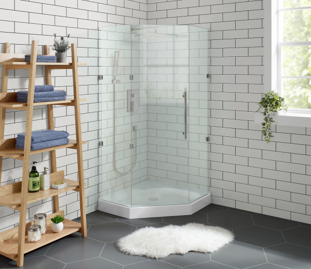 voltaire 36 x36 white single threshold center drain neo angle shower base