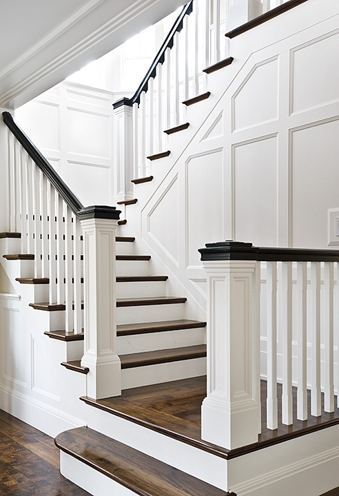 How To Stain Stairs   Stained Stairs And Risers   Two Tone   Natural   Bead Board   Gray Painted   Finished