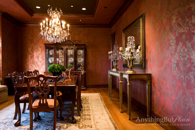 Red and Gold Dining Room with Stencil Pattern - Dining ...