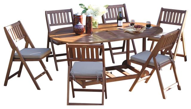 coronado 7 piece wood fold and store dining set