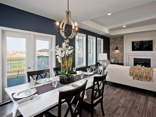 A navy accent wall looks stunning and this color is perfect to match any other trim paint colors or flooring