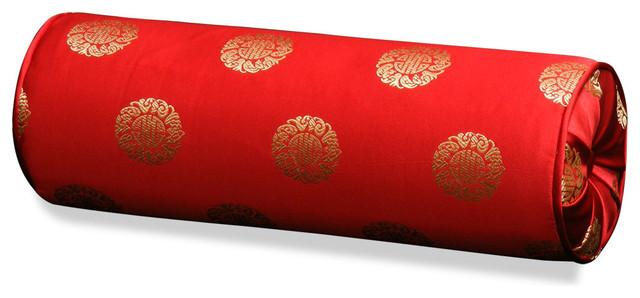 red silk longevity bolster pillow