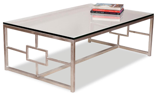 Vetra Contemporary Antique Silver Leaf Glass Rectangle Cocktail Table