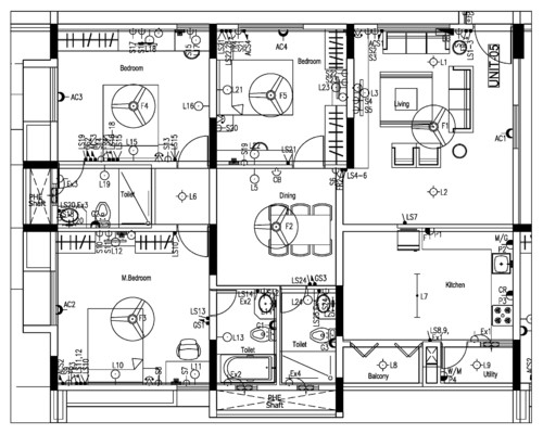 Electrical wiring diagram of bedroom flat