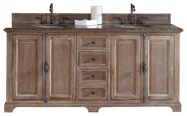 "providence 72"" driftwood double vanity - farmhouse - bathroom"