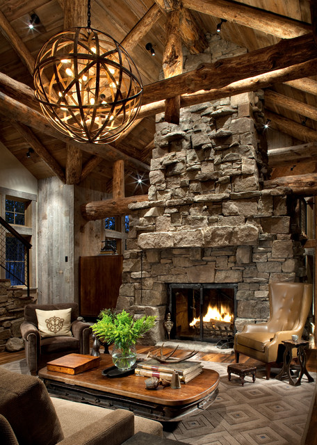 Great Room Fireplace Rustic Living