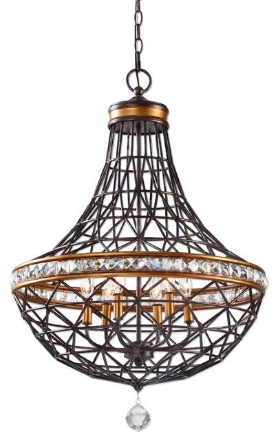 Bronze 6 Light Metal Basket Chandelier Crystal Accents Copper Brass Traditional Chandeliers
