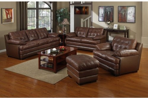 Quest Leather Mitchell Light Brown Leather Sofa Set