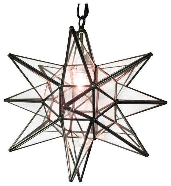 moravian star light clear glass with bronze trim 19 diameter no mount kit
