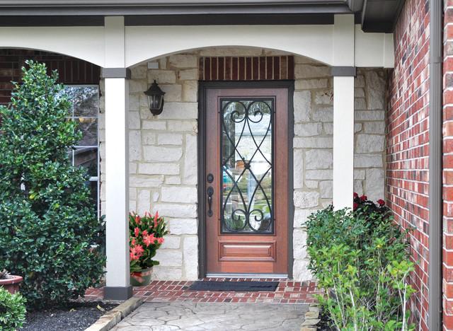 Single Door 80 Wood Mahogany Charleston 3/4 Lite traditional-entry