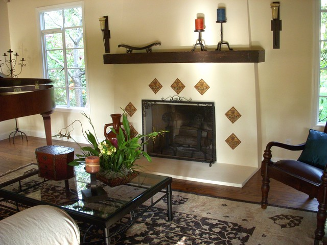 Spanish Style Fireplace Dining Room