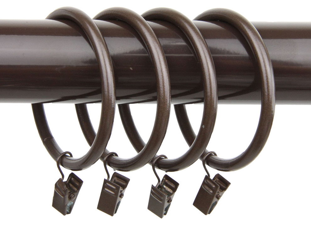 rod desyne decorative 10 curtain rings with clips 2 1 2 inch i d cocoa