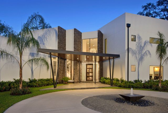 Modern Home with Stone Walls   Contemporary   Exterior   Houston     Modern Home with Stone Walls contemporary exterior